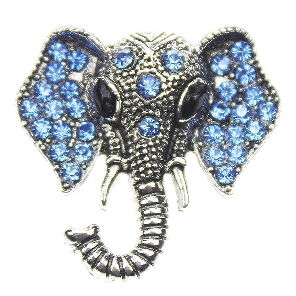 Animal Elephant Blue 20mm snap buttons with Glass Crystal