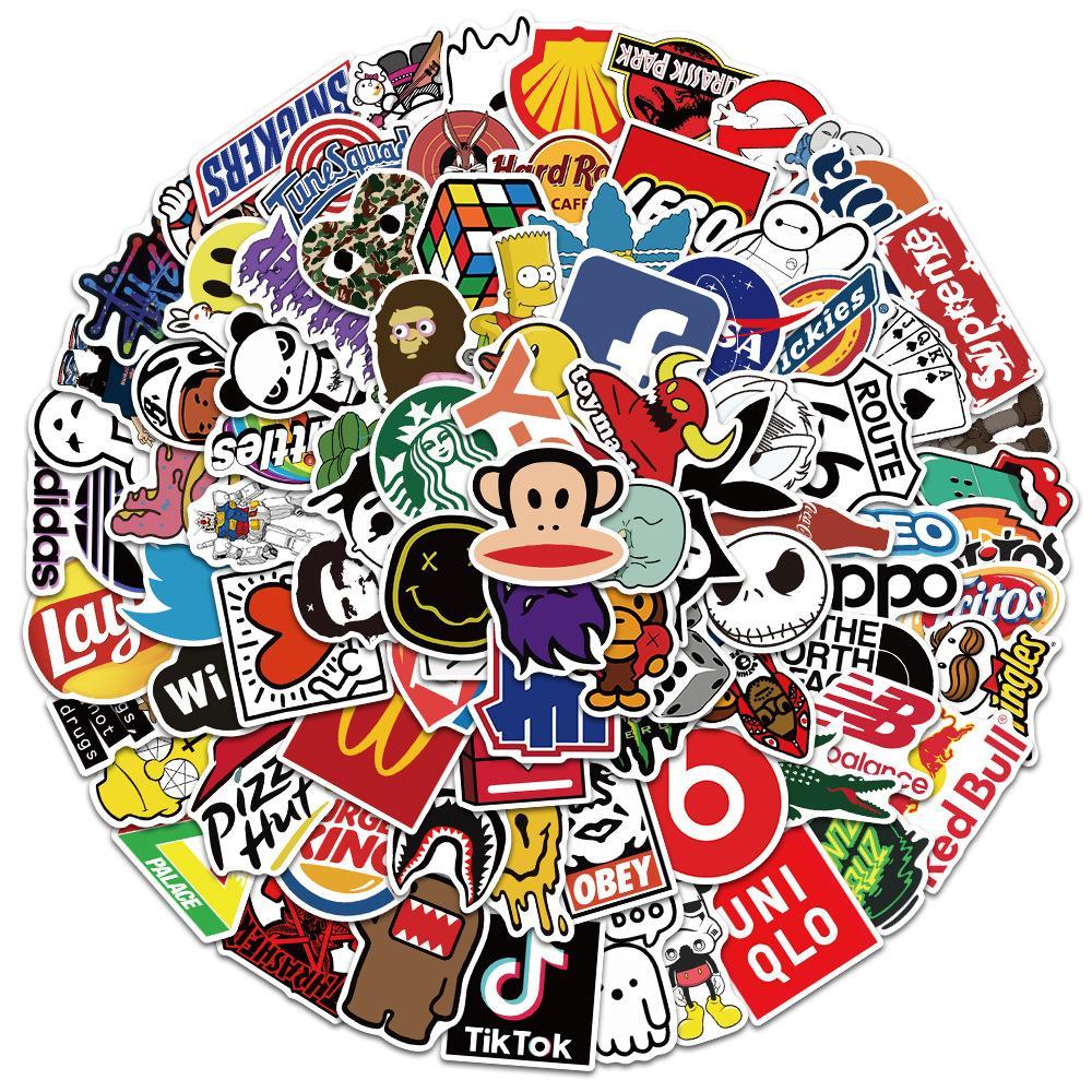 101 pcs Laptop Skateboard doodle Waterproof Sticker