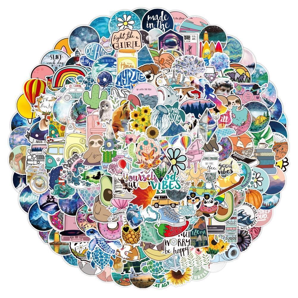 200 pcs Laptop Skateboard doodle Waterproof Sticker