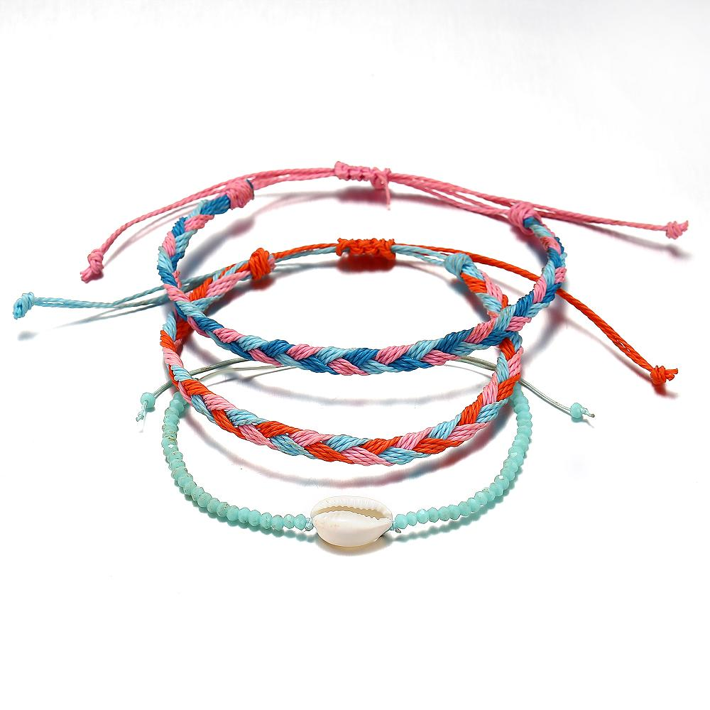 3 pcs Hand-woven Rope Bracelets with Shell