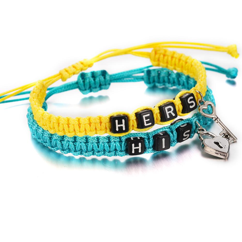 2pcs Yellow and Blue Fashion letter braided push-pull Bracelets