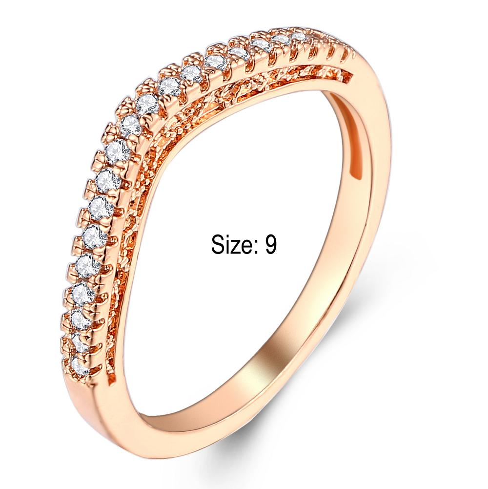 Size 9 Golden Alloy and zircon Ring