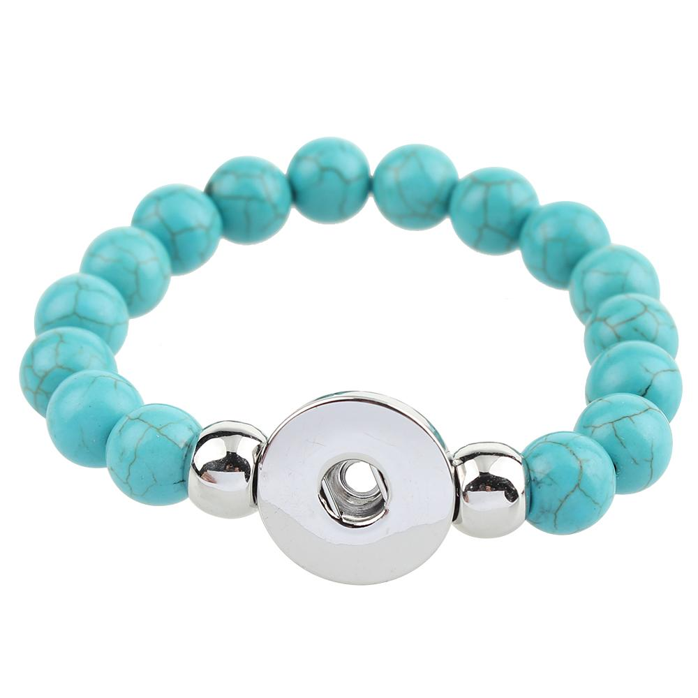 Turquoise Beads Snap button bracelet Fit 20mm Snaps