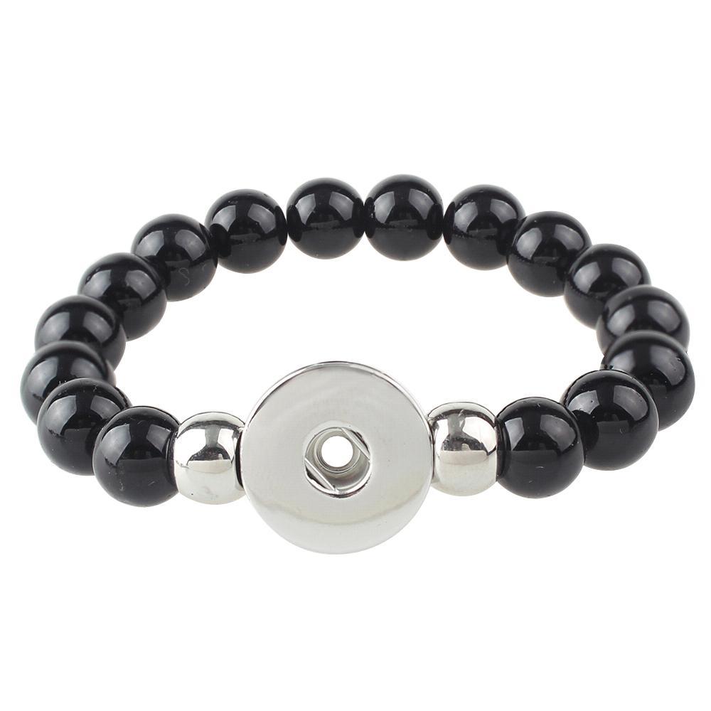 Black Beads Snap button bracelet Fit 20mm Snaps