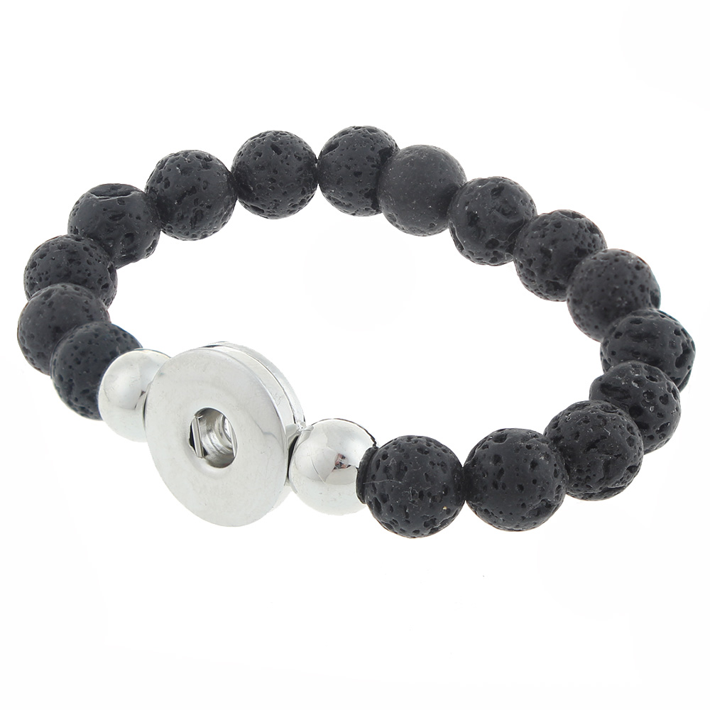 Volcanic stone Beads Snap button bracelet Fit 20mm Snaps