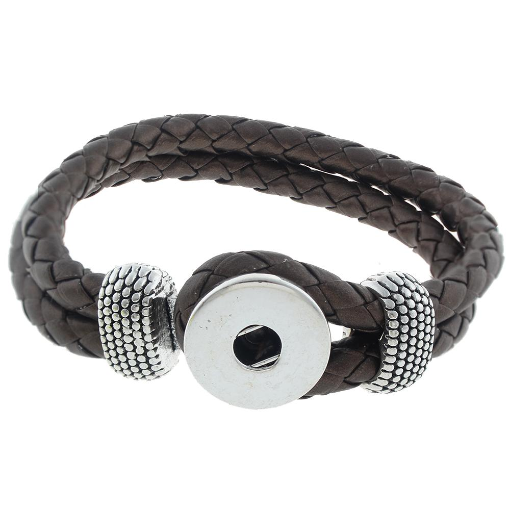 Leather Snap Bracelets brown leather