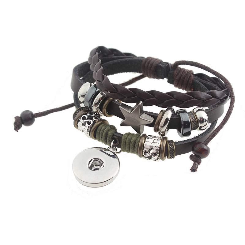 Black leather Snap Bracelets