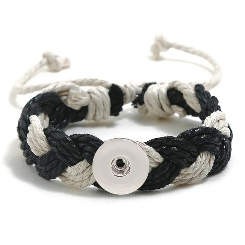 20MM Woven black and white Cotton thread Snap Bracelets