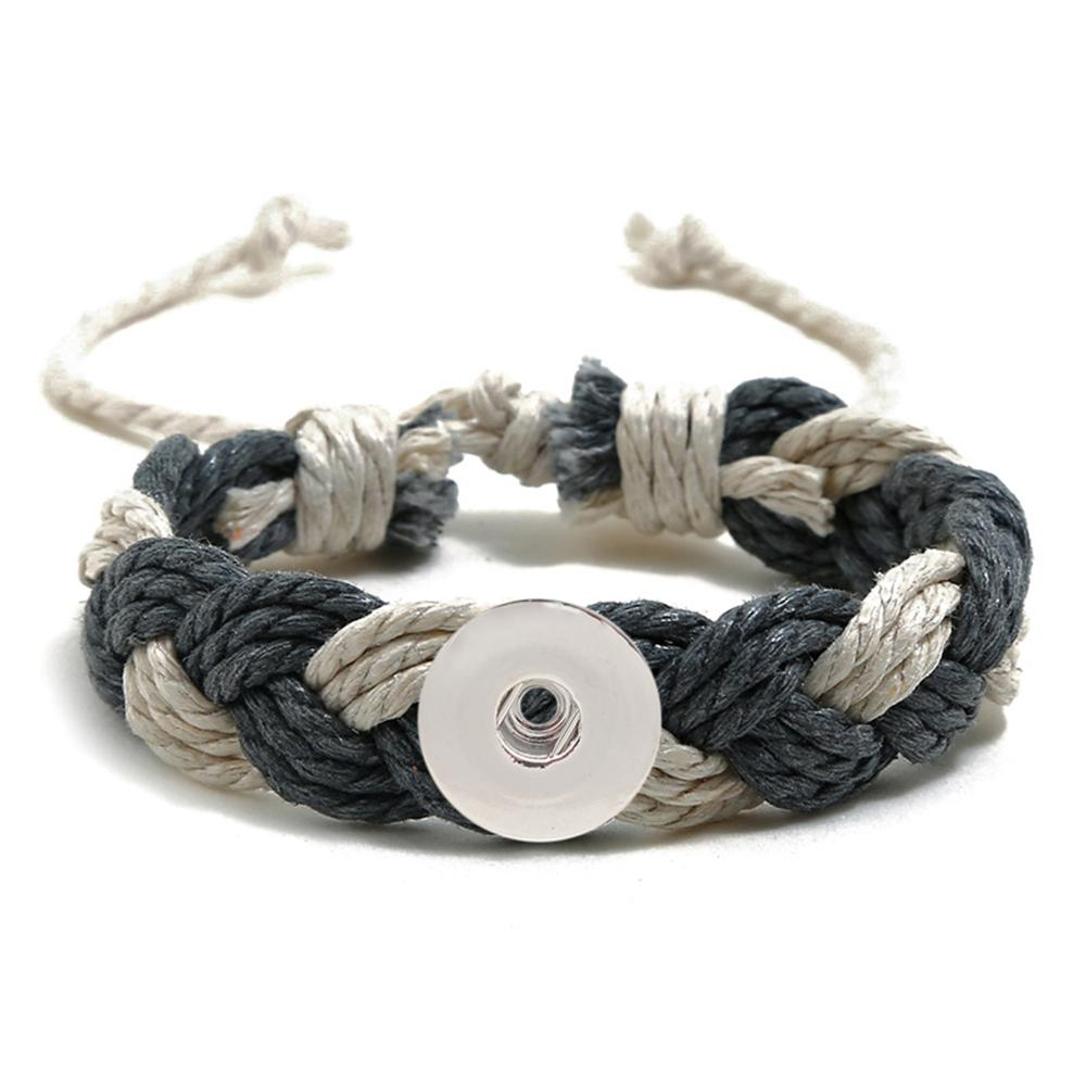 20MM Woven gray and white Cotton thread Snap Bracelets