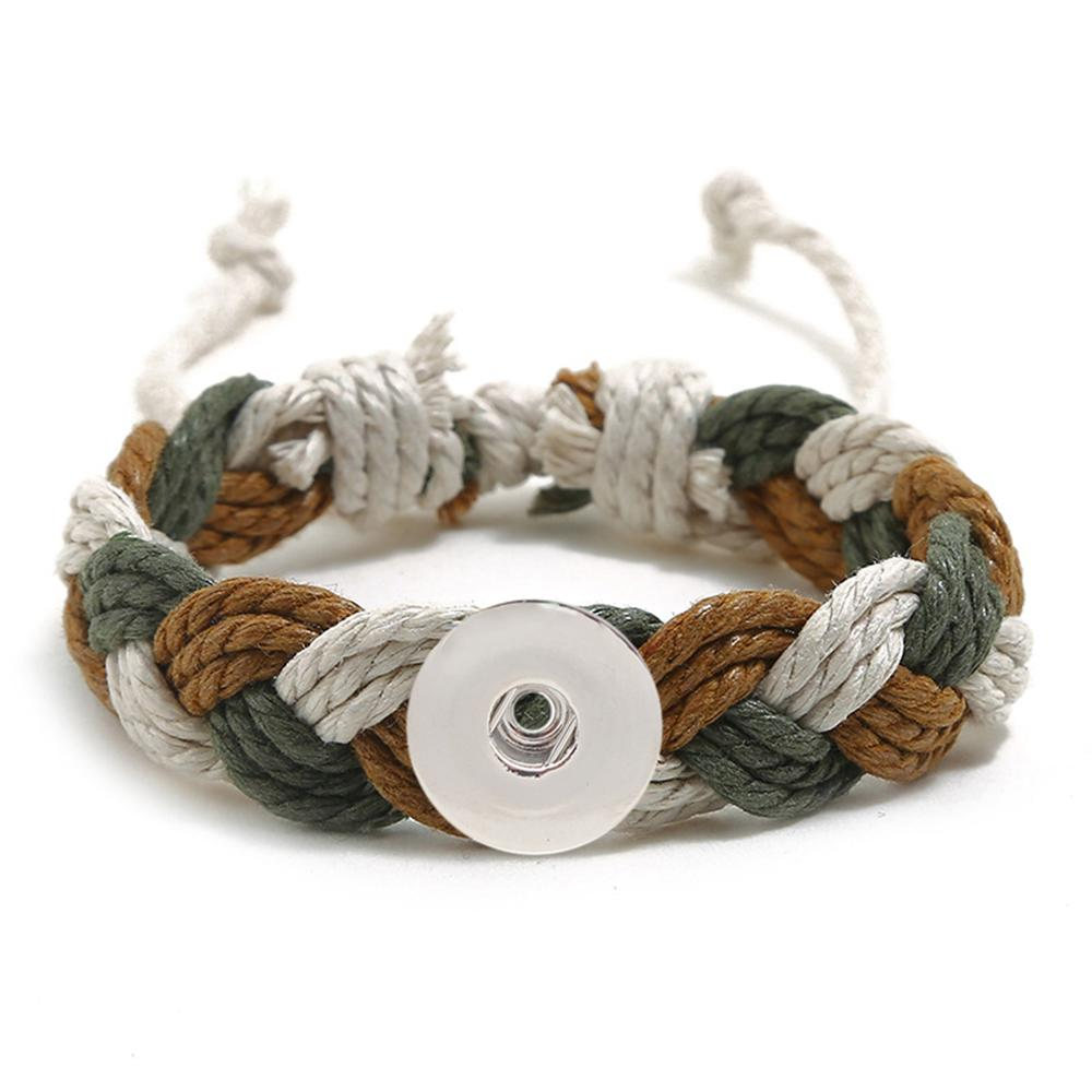 20MM Woven brown and white Cotton thread Snap Bracelets