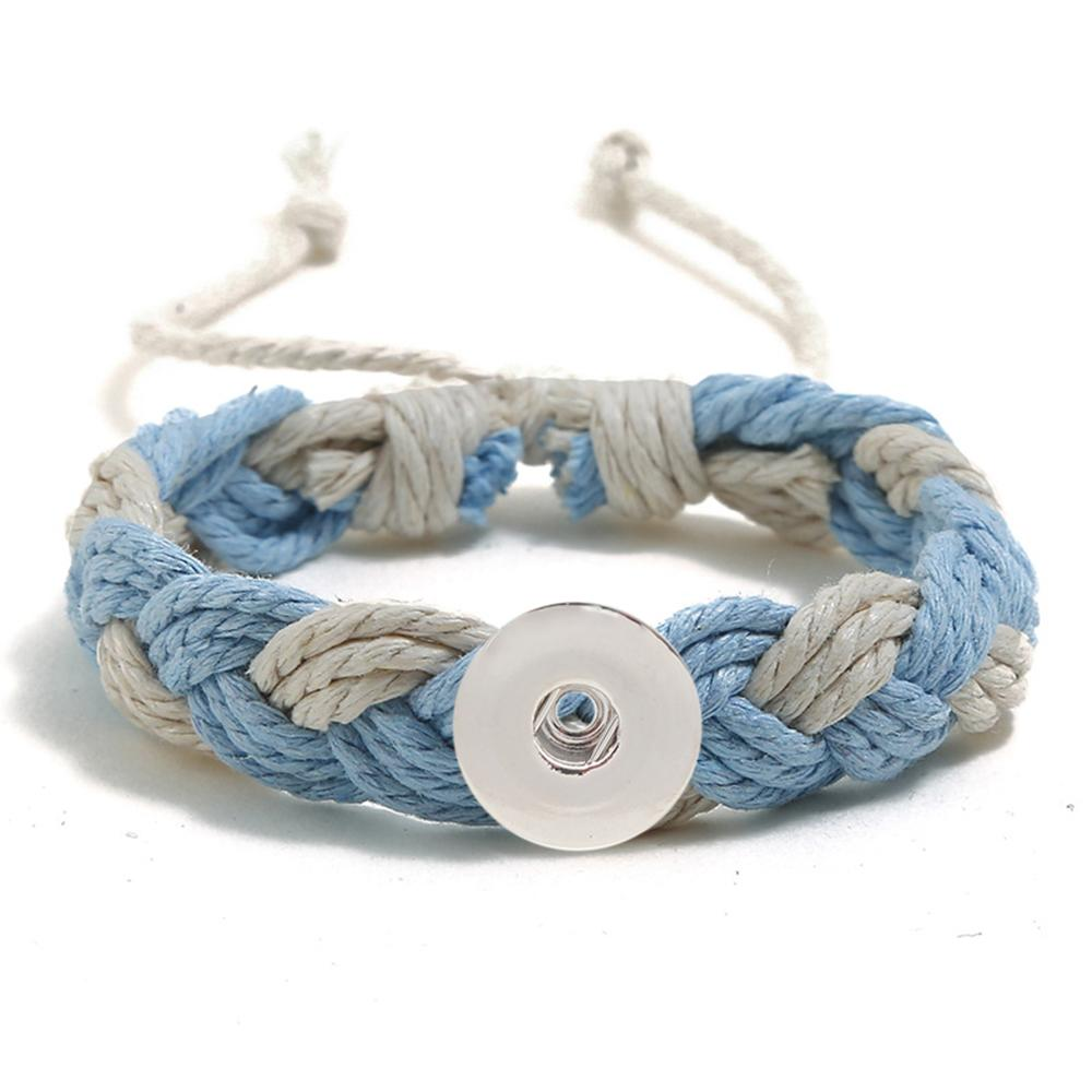 20MM Woven blue and white Cotton thread Snap Bracelets
