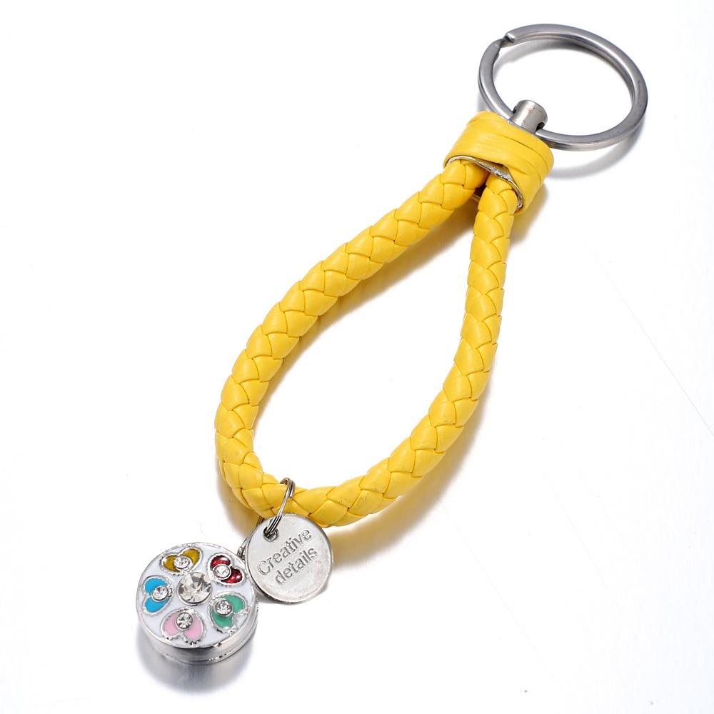 Yellow braid Leather Snaps keychain Bag Charms