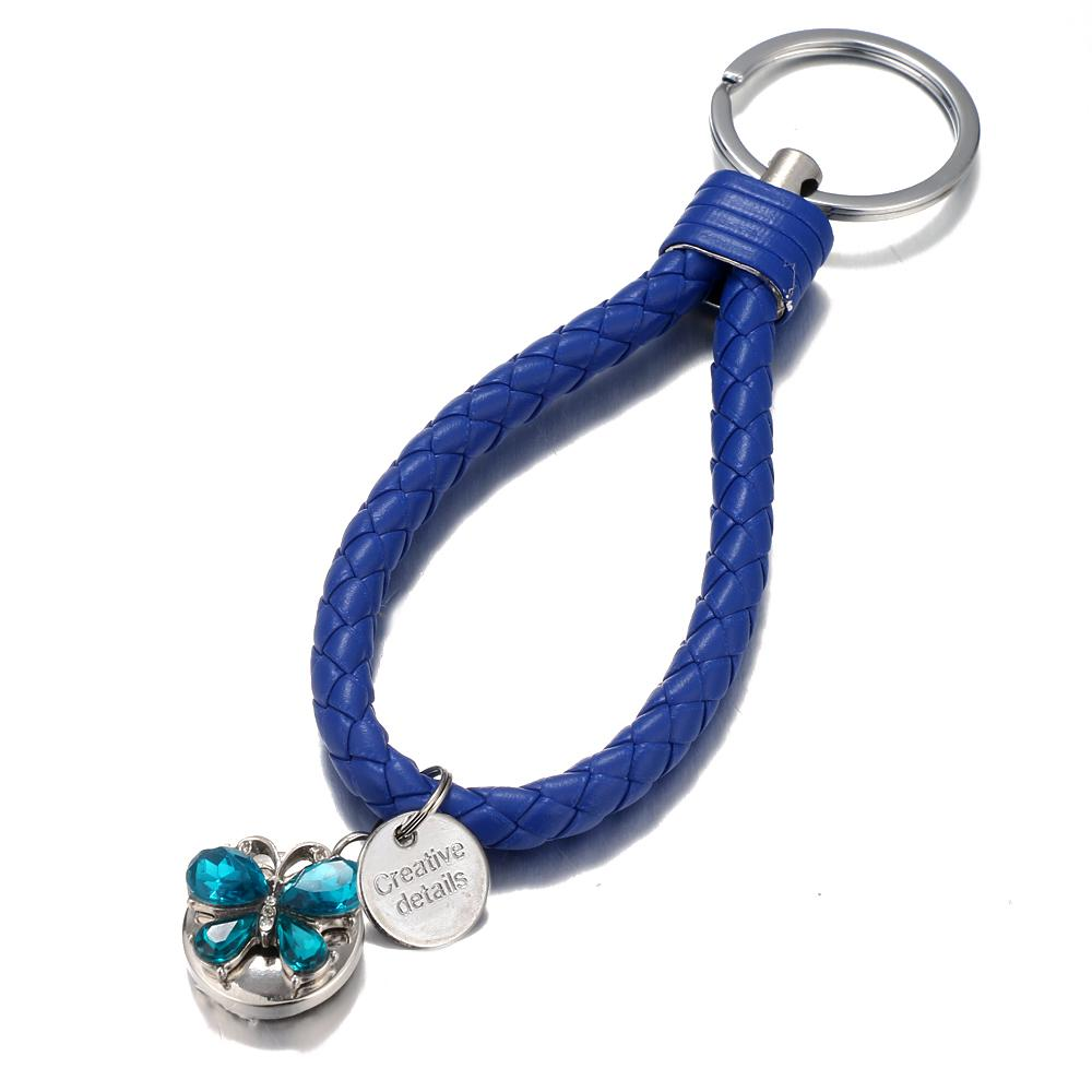 Blue braid Leather Snaps keychain Bag Charms