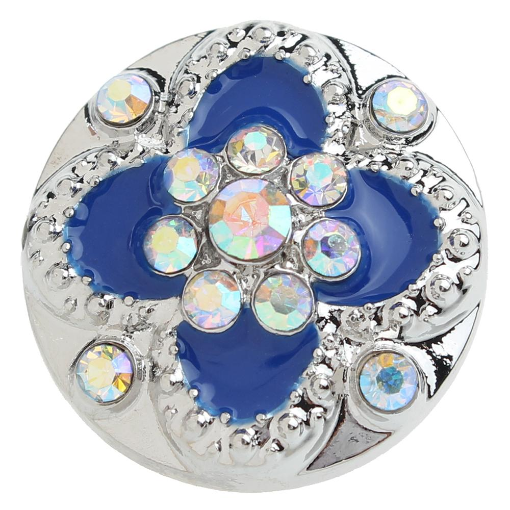 20mm Blue Flower Snap Button