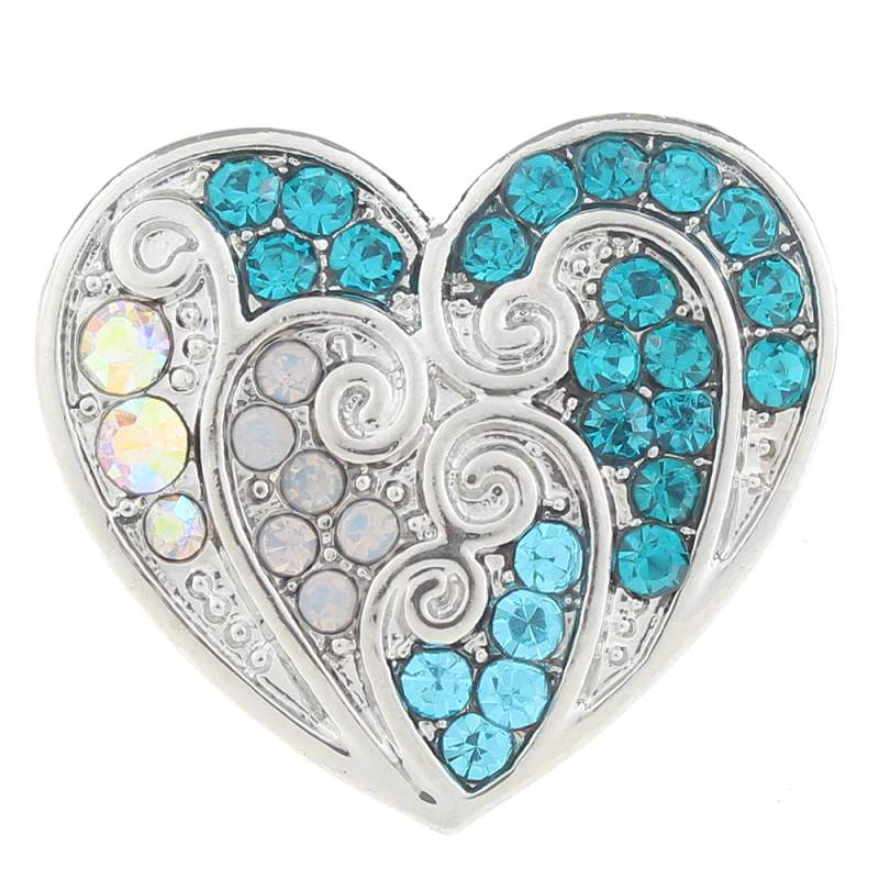 20MM heart snaps with rhinestone 20mm Snap Button