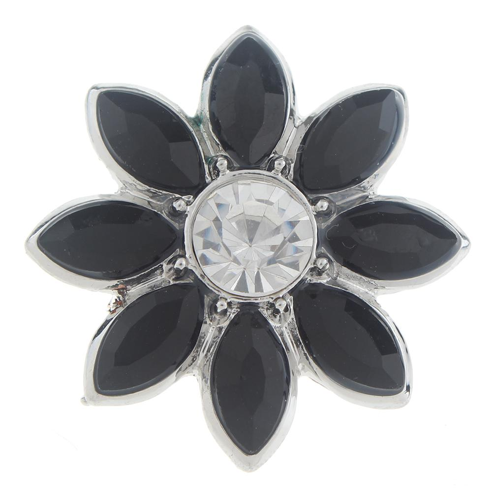 20mm flower Snap Button with rhinestone