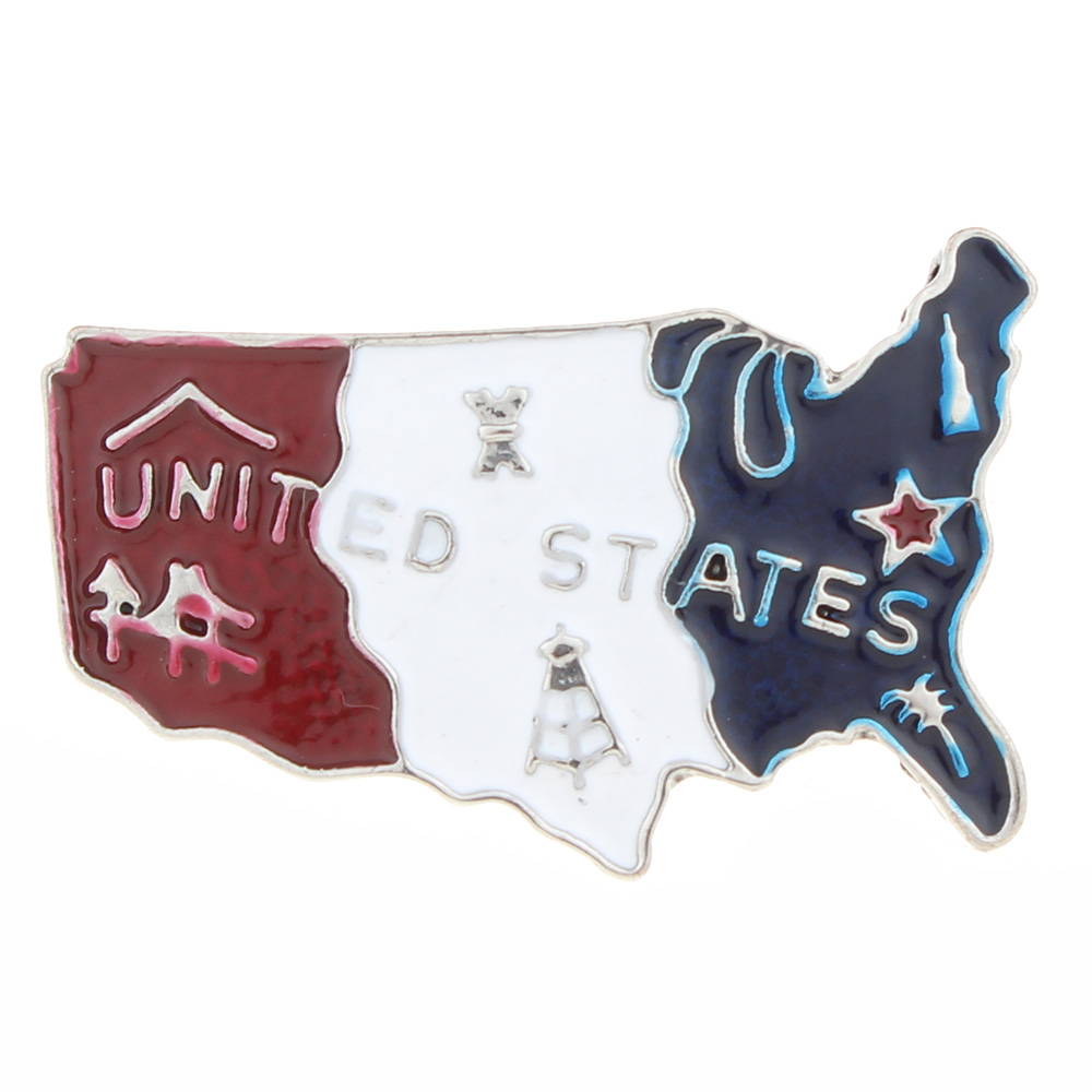 20mm USA map Snap Button with enamel