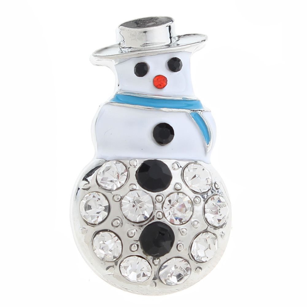 20mm Christmas snowman Snap Button with rhinestone