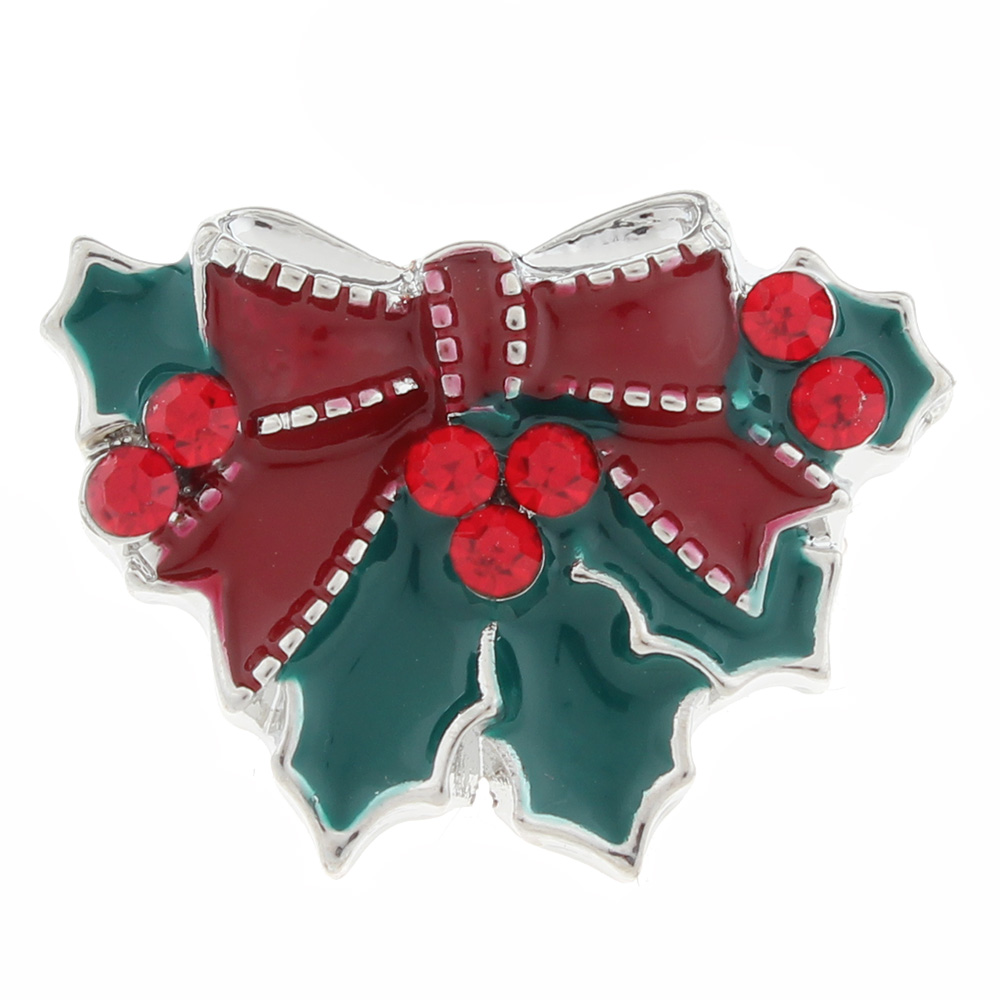 20mm Christmas flower Snap Button with rhinestone