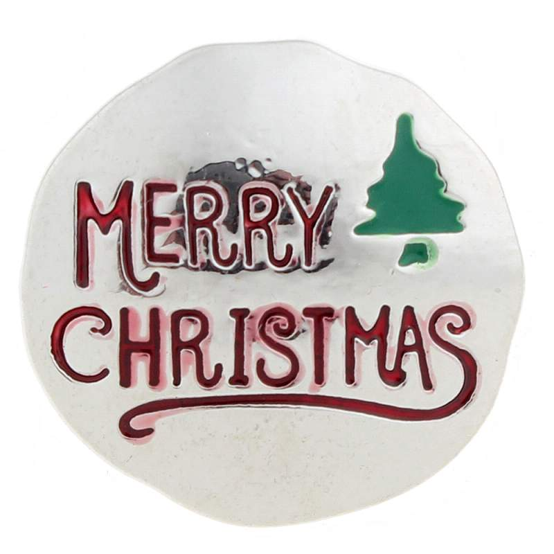 20mm Merry Christmas Snap Button with enamel