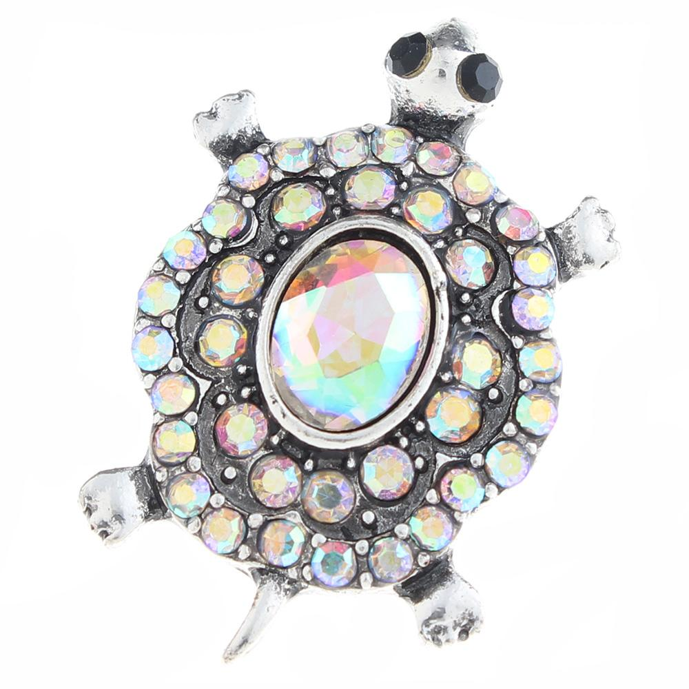 20mm tortoise Snap Button plated sliver with rhinestone