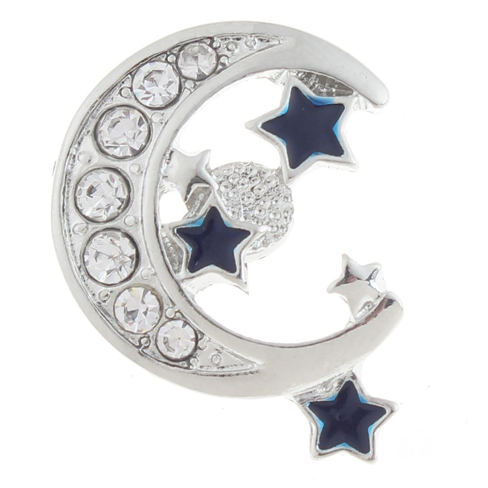 20mm moon and star Snap Button plated sliver with rhinestone
