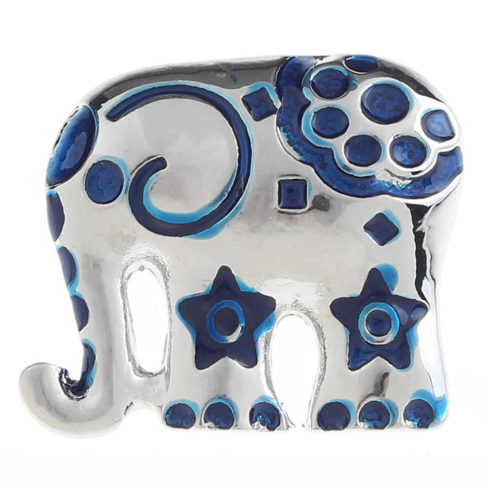 20mm elephant Snap Button plated sliver with rhinestone