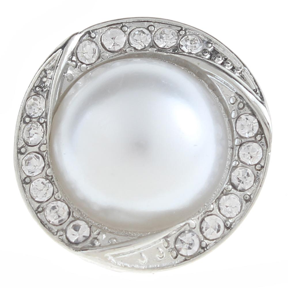 20mm pearl Snap Button plated sliver with rhinestone