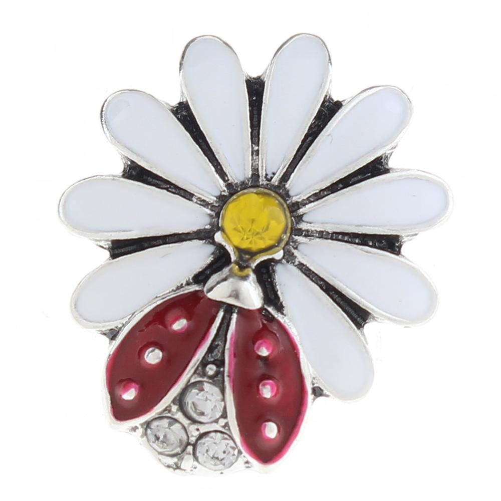20mm flower Snap Button plated sliver with enamel