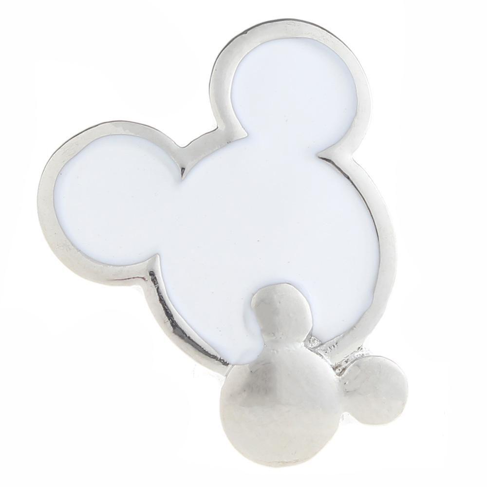 20mm mouse Snap Button plated sliver with enamel