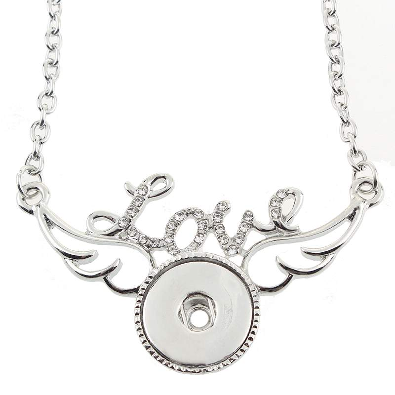 Silver-plated love Snaps Necklace with 60CM Chain