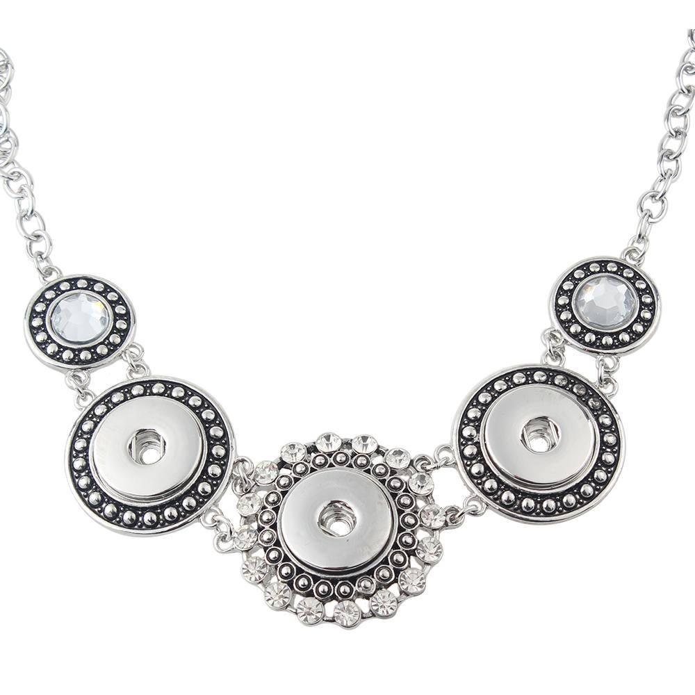 High Quality flower white Rhinestone metal snap Necklaces fit 18/20mm snap buttons jewelry