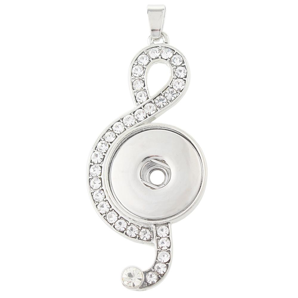 Silver-plated snap button pendant without chain