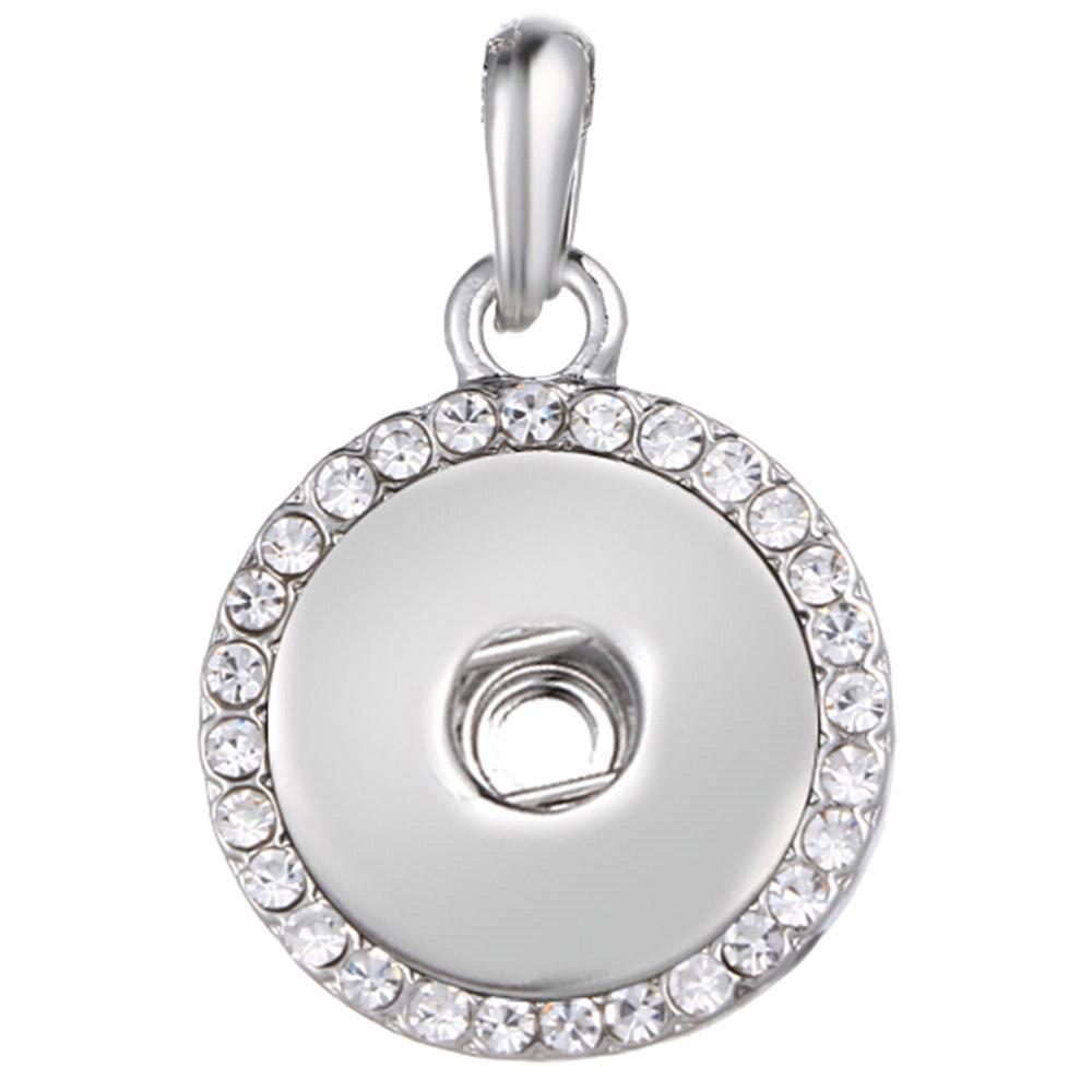 Round snap button pendant around crystal