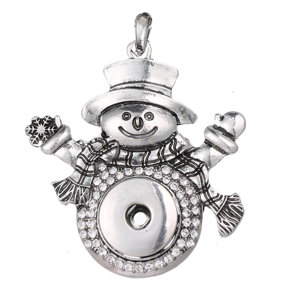 Christmas Xmas Snowman snap button pendant without chain