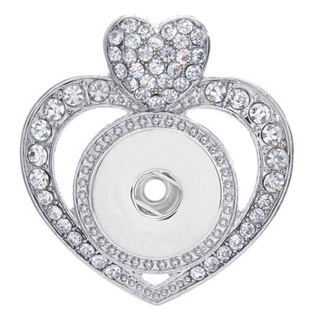 Heart Love snap button pendant without chain