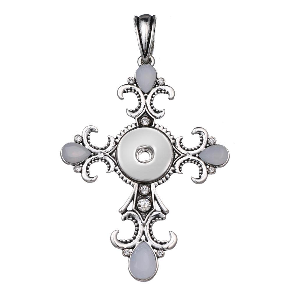 Faith Cross snap button pendant without chain