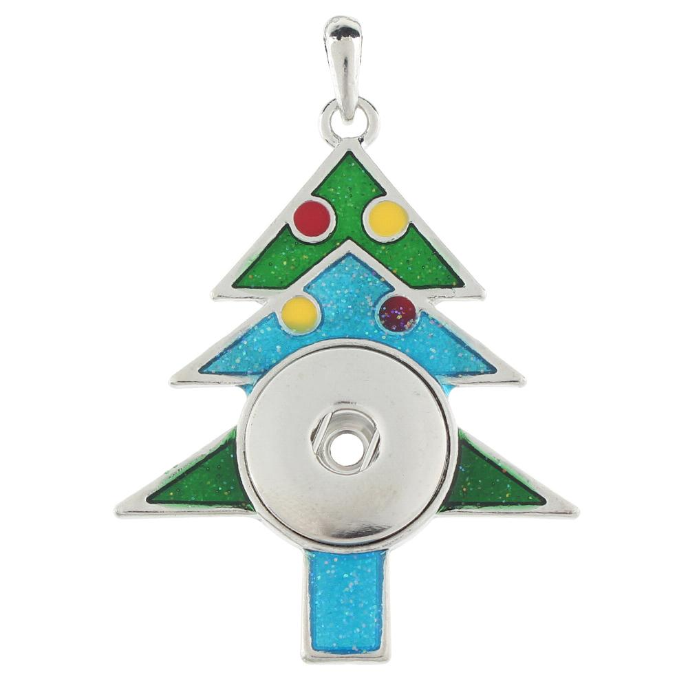 Christmas tree snap button pendant without chain