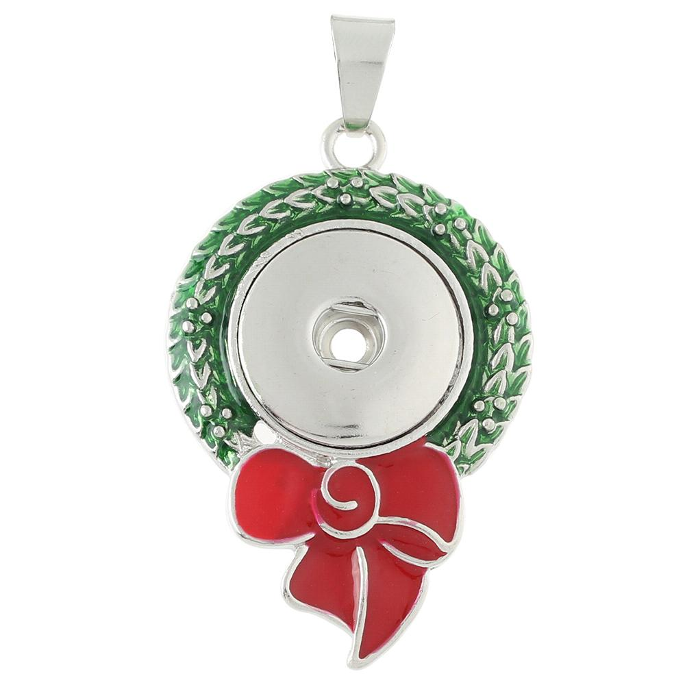 Christmas wreath snap button pendant without chain