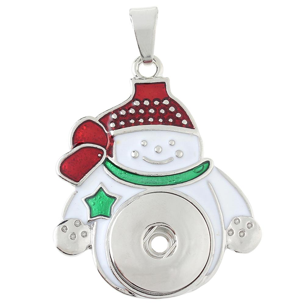 Christmas snowman snap button pendant without chain