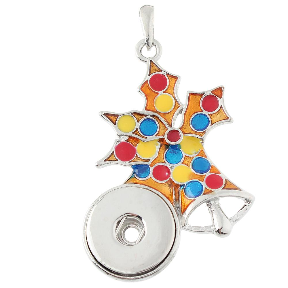 Christmas snowflake snap button pendant without chain