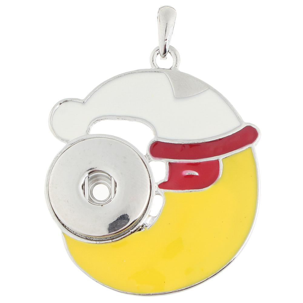 Christmas moon snap button pendant without chain