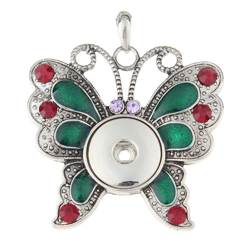 Animal Colorfull Butterfly snap button pendant without chain