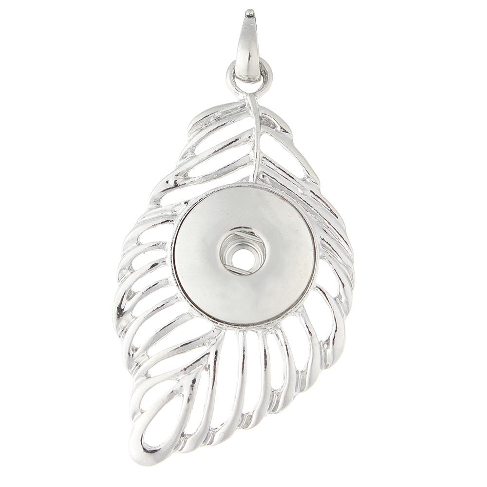 Leaf snap button pendant without chain