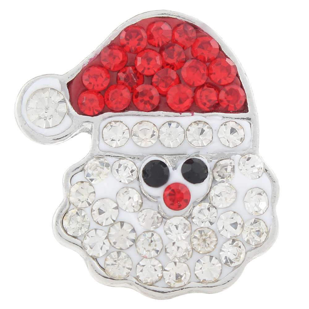 Christmas Xmas Santa Claus Clay-Rhinestone Alloy 20mm Snap Button