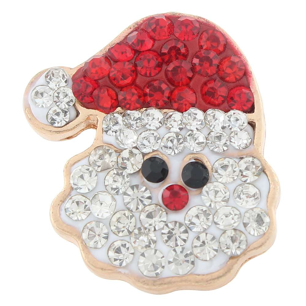 Christmas Xmas Santa Claus Clay-Rhinestone Rose Gold-plated 20mm Snap Button