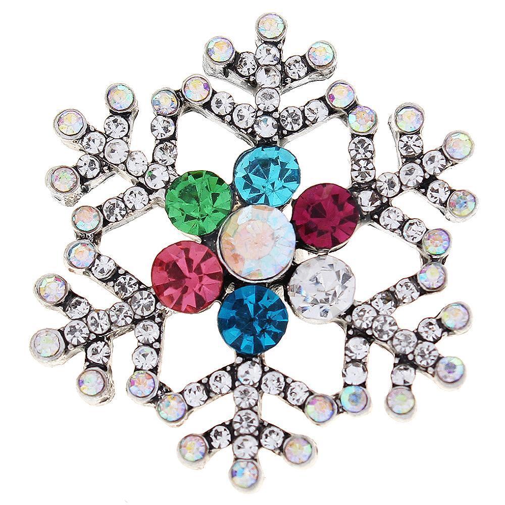 Colorful Christmas Xmas Snowflake Snap Button