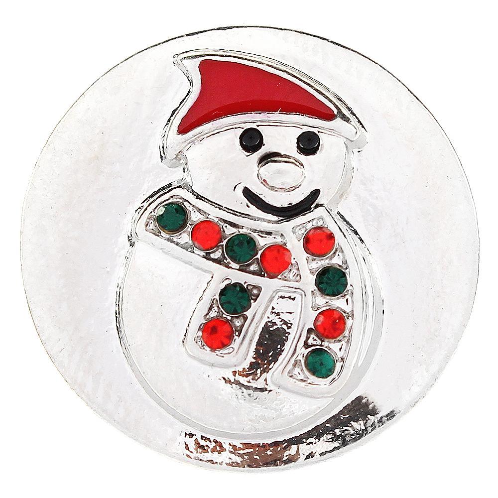 Christmas Xmas Snowman Snap Button