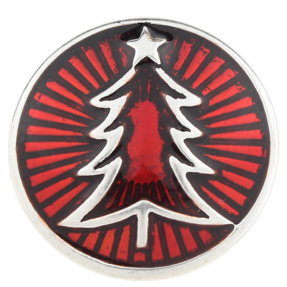 Red Christmas Xmas Tree 20mm Snap Button