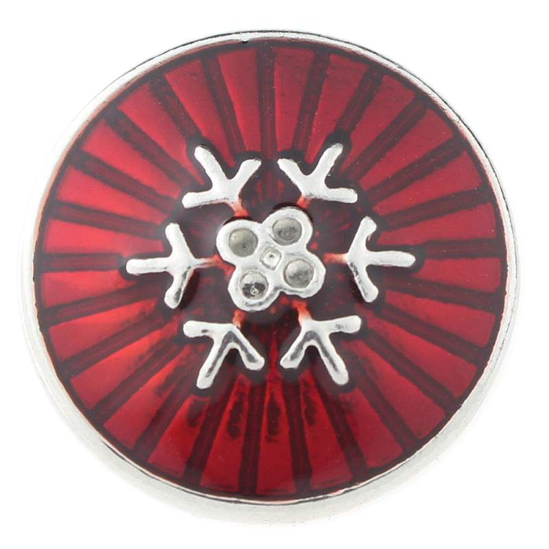 Christmas snowflake snaps with red enamel 20mm Snaps Button